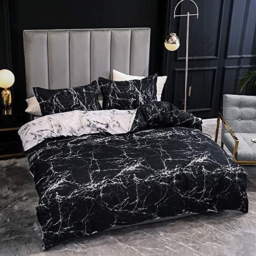 Chanyuan Ropa de cama de algodón, 135 x 200 cm, aspecto de mármol, color negro y blanco, juego de cama individual, funda nórdica y funda de almohada de 80 x 80 cm, con cremallera