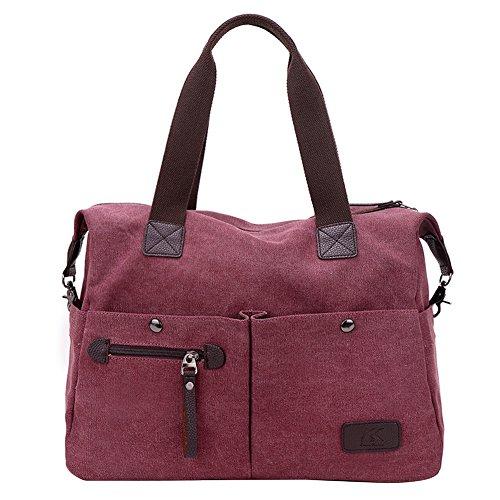 PB-SOAR Unisex Vintage Canvas Shopper Schultertasche Umhängetasche Handtasche Reisetasche (Lila)