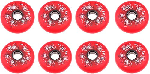 Speed skate wheels 8 Pieces of Inline Skates Replacement Wheels 84A PU Wheels Rubber Wheels for Indoor and Outdoor,Red,80MM