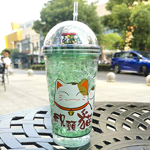 Copas De Champán, Tazas, Regalos Botella De Agua Creativa Lucky Cat Con Pajita Taza De Hielo Linda Rosa Japonesa Para Niñas Taza Para Beber Para Regalos