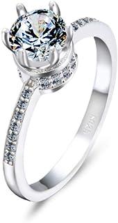 lem Abrillantador de anillosAnillo de Bodas de Las señoras del Anillo Hueco de Plata esterlina para el Amante para el Adol...