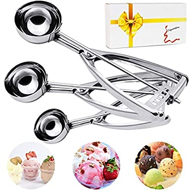 Ice Cream Scoop, 3PCS Stainless Steel Trigger Cookie Scoop, Melon Baller, Baking, Fruit Salad Scoop, Spoon Kit