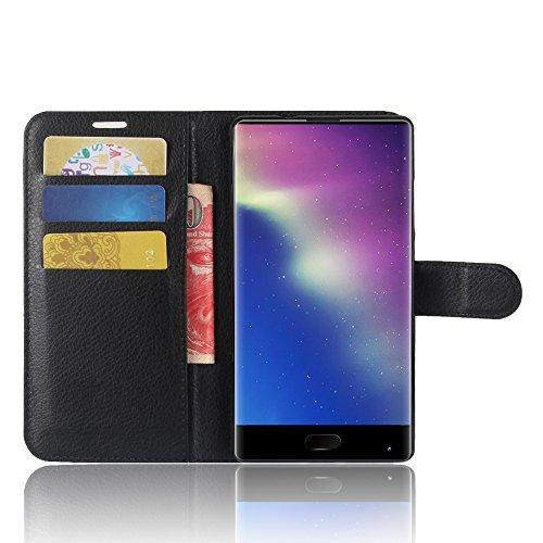 SMTR Doogee Mix Wallet Tasche Hülle - Ledertasche im Bookstyle in Schwarz - [Ultra Slim][Card Slot][Handyhülle] Flip Wallet Hülle Etui für Doogee Mix