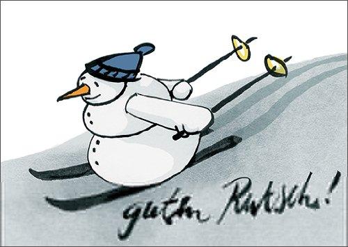 Anja vogel in 5-delige set: wens een goede glij! Met deze snelle sneeuwpop