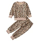 Toddler Baby Girls Leopard Print Summer Clothes Set T-Shirt and Short Pants 2pcs Outfits (4T, 8-Apricot(Long Sleeve))