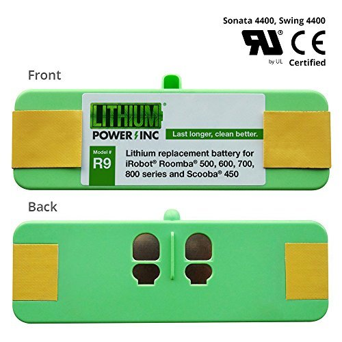 Lithium Roomba Replacement Battery for iRobot Roomba 980, 960, 890, 690, 614, 900, 800, 700, 600, 500 Series and Scooba 450, 4400mAh - UL&CE Certified Battery Pack