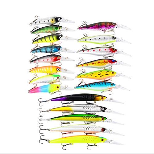 19Pcs Kits de señuelos para Pesca, LAEMALLS Cebos Artificiales de Pesca Cebo Duros/Suaves, Ojos 3D, Accesorios Cebos Articulos de Pesca para la Pesca, Trucha, Bagre, Bass, Salmón y Lucio#4