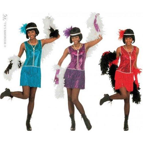 DELUXE FLAPPER COSTUME (S) - 3 colours (dress headband)