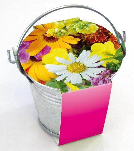 10er Set Zinkeimerchen Bunte Blumen