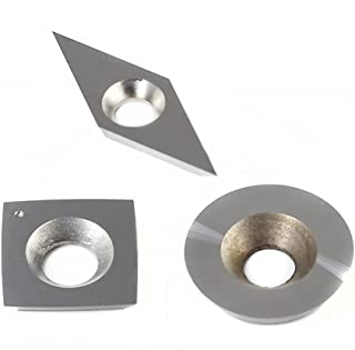 YUFUTOL 3pcs Tungsten Carbide Cutters Inserts Set for Wood Lathe Turning Tools(Include 15mm Square With Radius,18mm Round,28x10mm Diamond With sharp point),Supplied with Screws