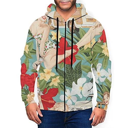 Sudadera con capucha para hombre con cremallera completa con capucha y diseño clásico con capucha, Vintage Tropical Holiday Sexy Girls Negro, XL