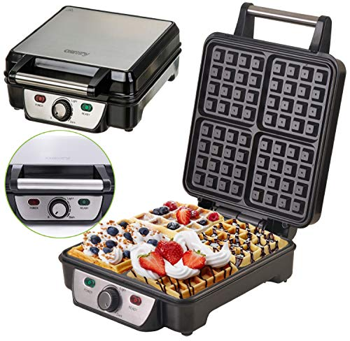 Waffeleisen | 1500 Watt | Waffelautomat | Elektrogrill | Wafflemaker | Paninigrill | Waffeltoaster | Waffle Maker | (4er Waffeleisen)