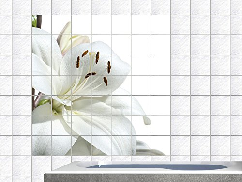 Graz Design - Adesivo da Parete (Piastrelle) per Bagno e Cucina, Motivo Fiore Bianco su Sfondo Bianco