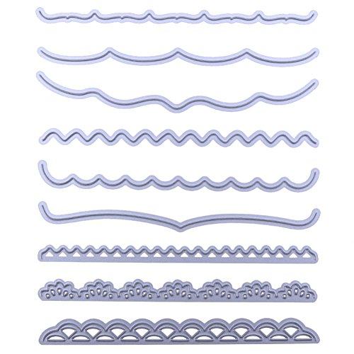 Baalaa 9 unids/set tarjetas decorativas bordes troquelados plantilla para álbumes de recortes, tarjetas de papel en relieve Deco Crafts troquelados