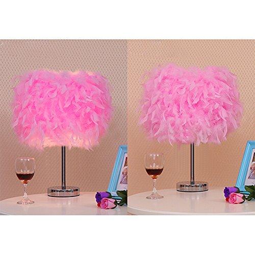 AZITEKE Modern Federn Tischlampe elegantes Zimmer Lampe Hochzeit Kristalle Federn Lampe LED leuchten licht lighting Licht Nacht (Europäische Regel Trompete-Pink)