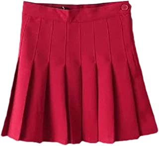 Howely Women's A-line All-Match Accordion Pleated Skirt Solid Mini Skirt