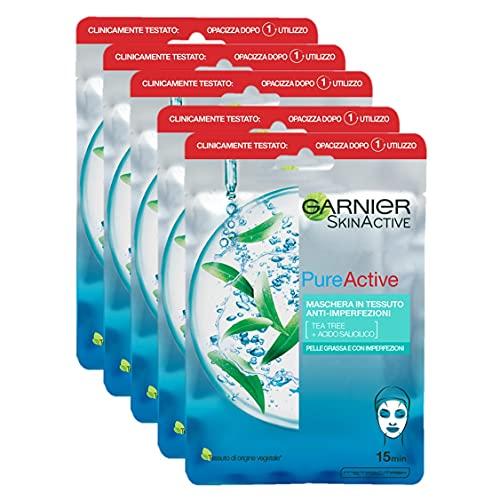 Garnier SkinActive, Maschera in tessuto anti-imperfezioni e idratante Pure Active, Per pelli grasse con imperfezioni, Confezione da 5