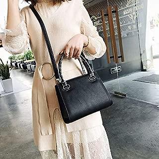 Fashion Single-Shoulder Bags Leisure Fashion PU Slant Shoulder Bag Handbag(Black) (Color : Black)