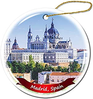 Wini2342ckey Christmas Decoration,Madrid Spain Christmas Ornament Porcelain Double-Sided Ceramic Ornament,3 Inches