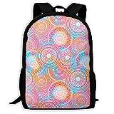 DJNGN Mochila Informal Mochila Escolar Mochila de Viaje School Backpack, Adult Backpacks Hippie Mandala Pattern School Bag Travel Daypack Shoulder Bag