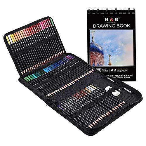 76 PCS Colored Pencils & Sketchbook Drawing Supplies, Artist Coloring Kit for Adults Kids Beginner -Sketching Blending丨Soft Oil Base Core, H & B Professional Coloured Set with Case Sharpener Art Paper