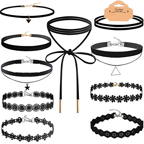 Outee 10 Pcs Choker Set Necklace Black Velvet Choker Tattoo Necklace Classical Gothic Chokers for Women Girls