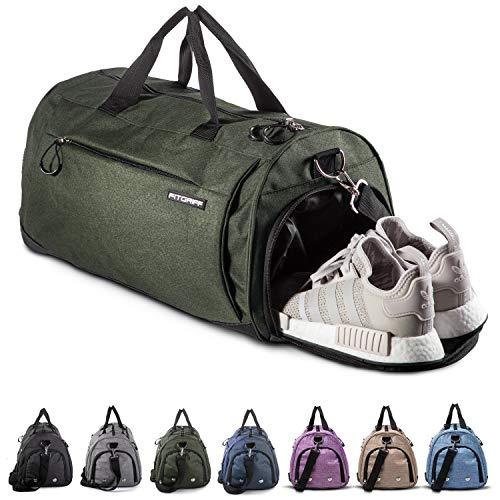 Fitgriff® Sporttasche Reisetasche mit Schuhfach & Nassfach - Männer & Frauen Fitnesstasche - Tasche für Sport, Fitness, Gym - Travel Bag & Duffel Bag 48cm x 26cm x 25cm [30 Liter] (Grün, Small)