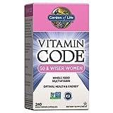 Garden of Life Multivitamin for Women 50 & Over, Vitamin Code Women 50 & Wiser Multi - 240 Capsules, Vitamins for Women 50 Plus with B Vitamins, Vitamins A, C, D3, E & K, CoQ10, Probiotics & Enzymes