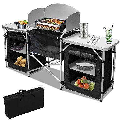 Hengda Campingküche mit Aluminiumgestell, Spritzschutz und Tragetasche, ca. (L) 172 cm x (B) 52 cm x (H) 104 cm,Outdoor Campingschrank Windschutz inkl. Reiseküche