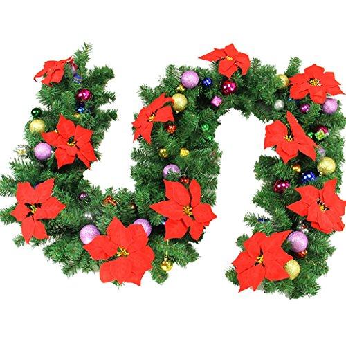 Jia He Decorazione Christmas Rattan - Christmas Wreath Campanello con Ciondolo Ghirlanda 3 Colori Disponibili, Lunghezza 2,7 m / 8,8 Piedi ## (Color : C-2 String)