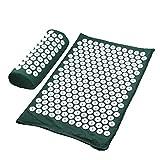 ZHANGZEHONG Masajeador Cojín de Masaje Yoga Mat acupresión aliviar el estrés Dolor de Espalda Cuerpo de Spike Mat Mat acupuntura (Color : Dgreen Set no Bag)