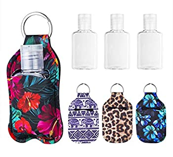 Hzran Portable Travel Size Squeeze Bottle Leak Proof Plastic Squeezable Bottle With Neoprene Holder Pouch For Liquid Essential Oil Toiletry Cute Squeeze Bottles Set For Women  1oz 4 pack-L