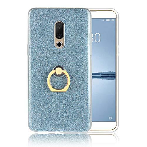 Ycloud Soft Silikon TPU Hülle für Meizu 15 Plus Smartphone, Funkeln Glitzer Handyhülle mit Ring-Schnalle Ständer Entwurf Ultra Slim Back Cover (Blau)