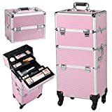 Yaheetech 3 in 1 Professional Rolling Train Cases, Pink Makeup Artist Cosmetic Trolley Cosmetic Makeup case Multifunction Aluminum Trolley