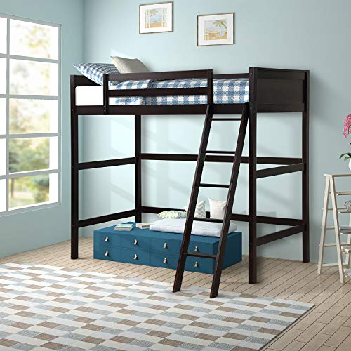 Platform Loft Bed for Kids, Wood Loft Bed with Safety Rail and Ladder, Best Choice Bed Frame for Child, No Box Spring Espresso