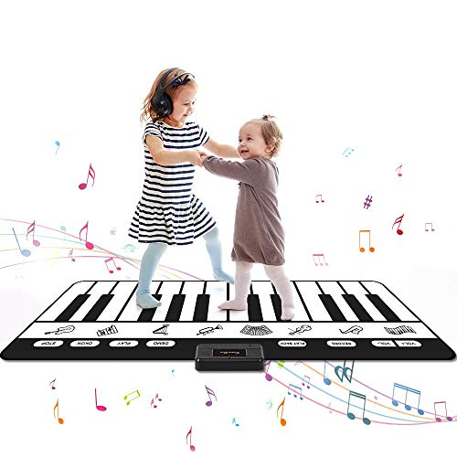 SANMERSEN ピアノマット 24鍵盤 10デモ曲 8種類楽器音 録音機能 録音再生機能 ワンキーワンノート機能 ミュージックマット 音楽マット 滑り止め 折り畳み式 高音質 スピーカー搭載 電池給電 音量調整可 ピアノおもちゃ 日本語取扱説明書付き