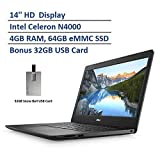 2020 Dell Inspiron 14' HD LED-Backlit Laptop Computer, Intel Celeron N4000 Processor, 4GB DDR4 RAM, 64GB eMMC SSD, Intel HD Graphics, HD Webcam, Windows 10 S, Black, Snow Bell 32GB USB Card