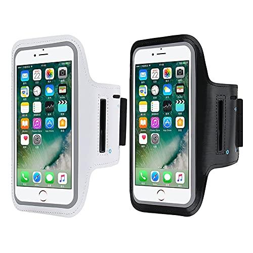 Tingz 2pcs Fascia da Braccio Sportiva ,Running Armband , per Correre, Sweatproof Porta Cellulare Braccio Sportiva con Tasca per Chiave e per Carte per iPhone 12//11/XR/X, Galaxy S10/S9 (Fino a 6.1')