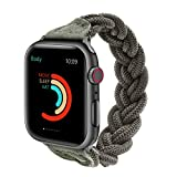 Fun Gaau Elastic Paracord Compatible Apple Watch Band Green Handmade Replacement Wristband Compatible iWatch Series 6/5/4/3/2/1, Women Men (38MM 40MM (Wrist L:6-7.2 inch))