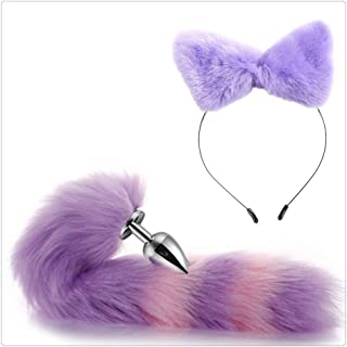 Carinloing Purple Simple Design Hair Cat Ear Kitty Hairband with a Fox Tail Costume Set