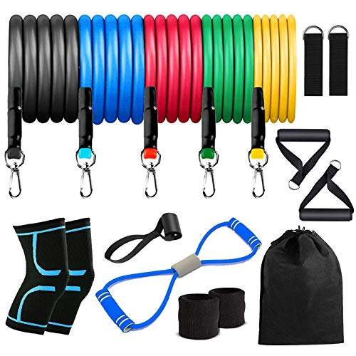 KEXMY Resistance Bands Set - (9+2)-Piece Exercise Bands - Portable Home Gym Accessories - Stackable Up to 150 lbs. - Perfect Muscle Builder for Arms, Back, Leg, A2Chest, Belly, Glutes.