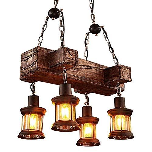 Lámpara de luz estilo retro industrial de madera maciza para restaurante estilo vintage con diseño de barco de madera maciza y estilo vintage