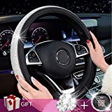 Zadin New Diamond Leather Steering Wheel Cover with Bling Bling Crystal Rhinestones, Universal Fit 15 Inch Anti-Slip Wheel Protector for Women Girls,Black