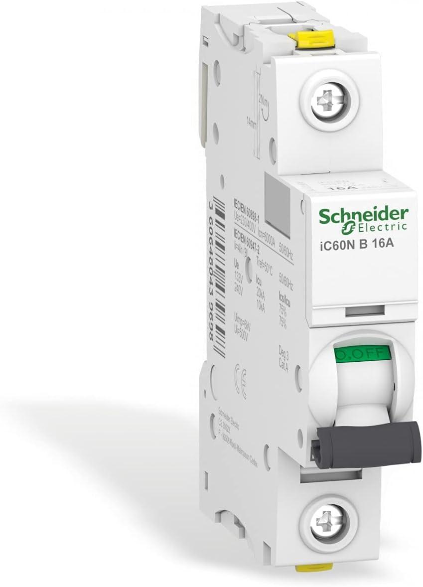 Schneider A9F03116 Leitungsschutzschalter iC60N, 1P, 16A, B Charakteristik