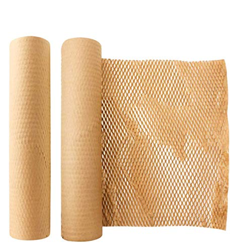 緩衝材 ハニカム紙、包装用包装紙-感受性物品の包装材-輸送用緩衝材-クラフトロール30cm x 10m、天然再生紙、クラフト紙包装紙、手芸品、美術品、ギフト包装、包装、郵送、輸送、包装物品及び小包