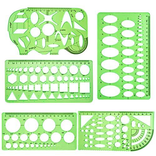 Plantillas de medición,5 piezas plantillas de dibujo geométricas verdes,plantillas de plástico para medir reglas círculo geométrico plantillas de dibujo para suministros de oficina y escuela