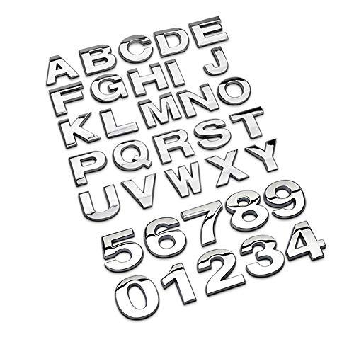 NewL Letras de metal personalizadas para coche y buzón casa calcomanías emblema insignia Kit (plata)