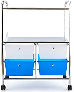 3 Tier Storage Cart, EZOWare Multifunction Organizer Standing Shelf Utility Rolling Cart with Handles and 4 Storage Drawers for Bathroom Kitchen Pantry Office Salon & Spa