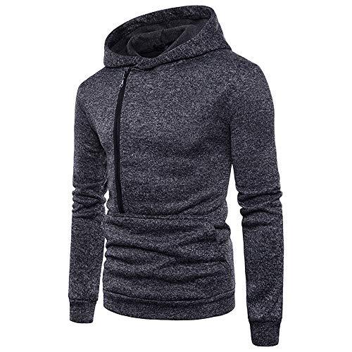 manadlian Sweats à Capuche Homme Veste Hooded Hommes Sweatshirt Hiver Chaud T-Shirts à Manches Longues Zipper et Poche Blouse Pullover Outwear Automne
