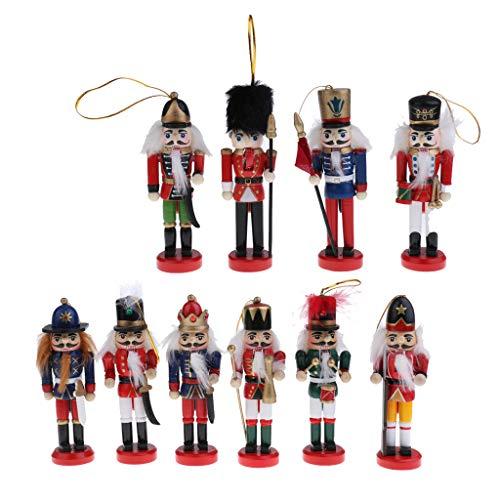 Toygogo 10 Pz 12 Cm Soldatini Schiaccianoci in Legno Dipinto A Mano Figurine Nut Cracker Bambole Ornamenti di Natale Tavolo da Casa Decorazione da Piedi Regal